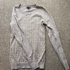 Express size small beige sweater w/gold studs